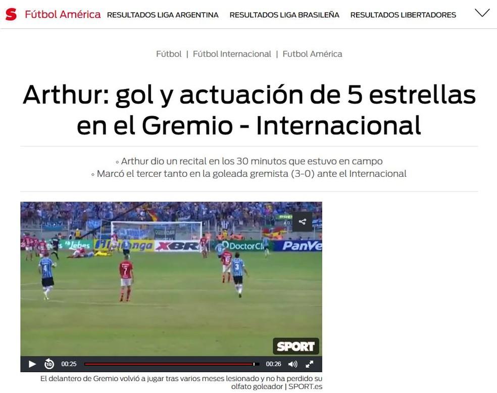 """Sport: """"Atuação cinco estrelas"""" (Foto: reprodução/Sport.es)"""