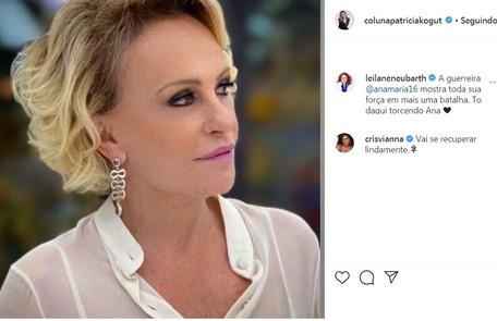 A apresentadora Leilane Neubarth e a atriz Cris Vianna mandaram mensagens positivas Reprodução/Instagram
