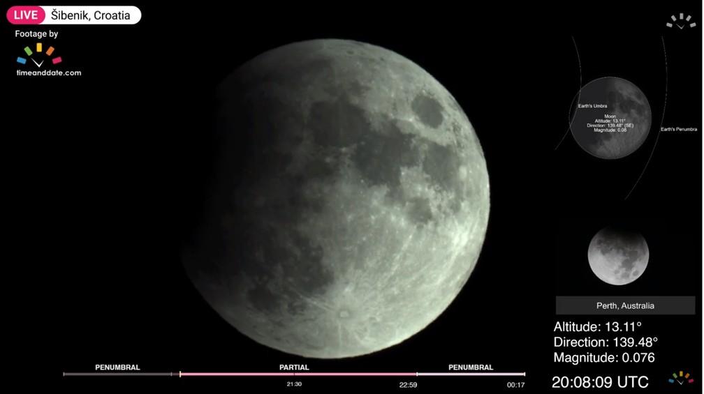 Transmissão do Observatório de Sbenik, Croácia. Às 20h08 se observa a fase de penumbra (17h08 em Brasília) — Foto: Divulgação/Time and Date