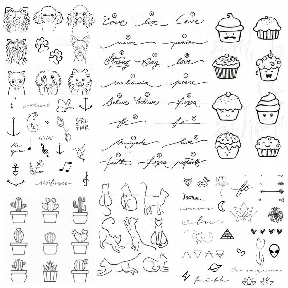 Mais de 500 modelos entre desenhos, figuras e escritas, serão disponíveis para fazer como tatuagem em ação social  — Foto: Aline Cruz/Arquivo pessoal