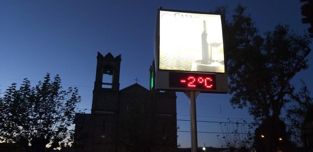 São Joaquim chegou a marcar -2°C nas primeiras horas da manhã — Foto: Wagner Urbano/ NotiserraSC