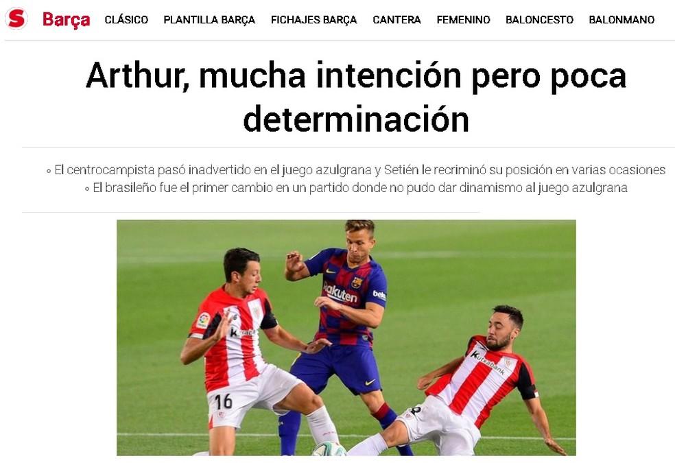"""""""Sport"""": muita intenção, mas pouca determinação para Arthur — Foto: Reprodução/Sport"""