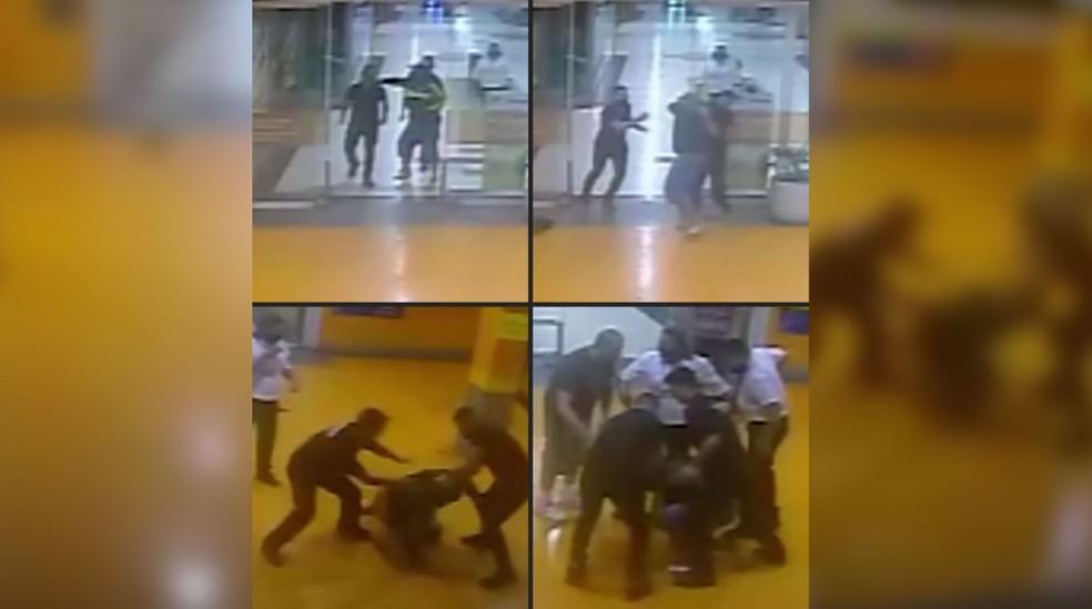 Montagem com imagens da agressão de João Alberto — Foto: Arte/G1