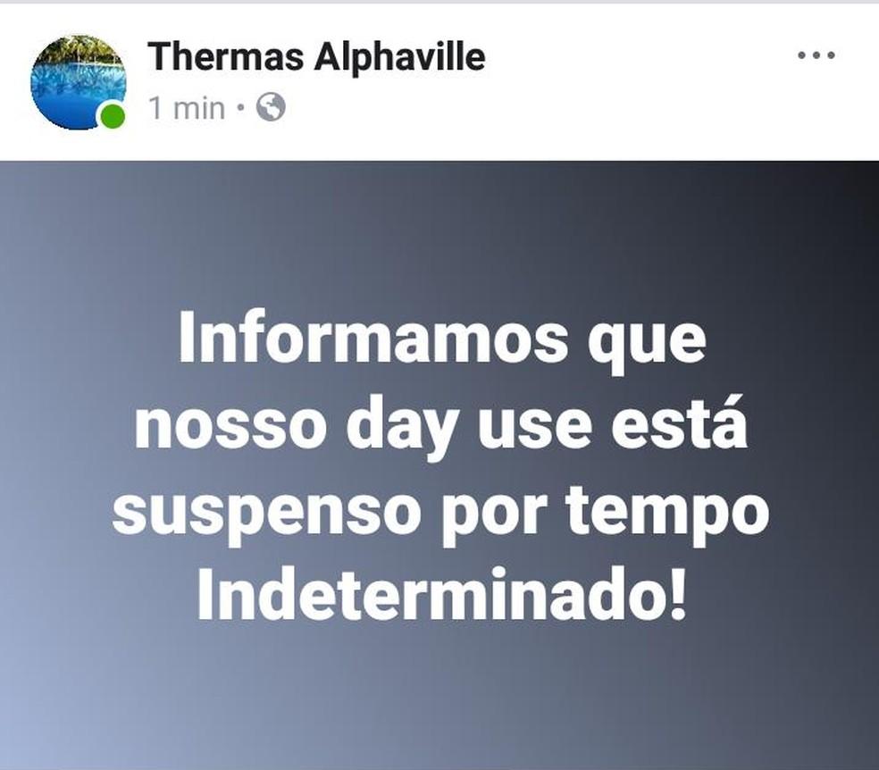 Um dos estabelecimentos comunicou a suspensão em sua página em uma rede social (Foto: Facebook/ Reprodução)