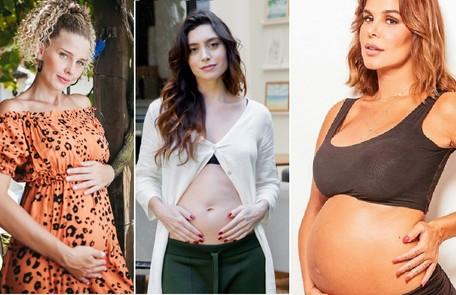 Debby Lagranha, Juliana Schalch e Robertha Portella falam com exclusividade sobre suas gestações Divulgação e Sergio Baia