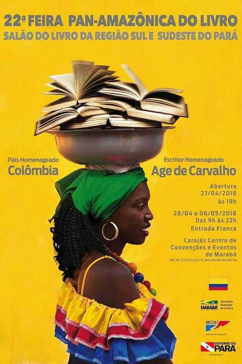 Cartaz de evento da Feira do Livro é alvo de críticas apontando racismo em representação de mulher negra carregando livros. (Foto: Reprodução / Secult)