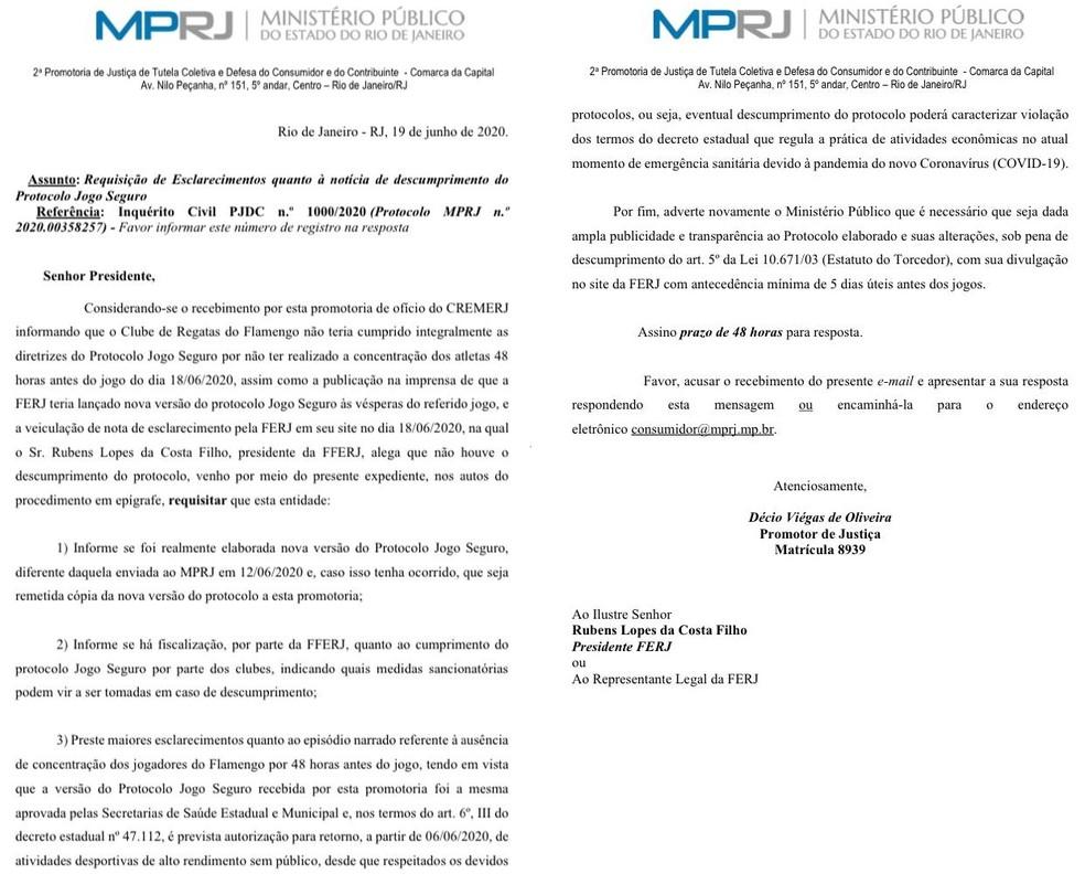 Ministério Público do Rio de Janeiro pede esclarecimentos à Ferj sobre descumprimento de protocolo — Foto: Reprodução