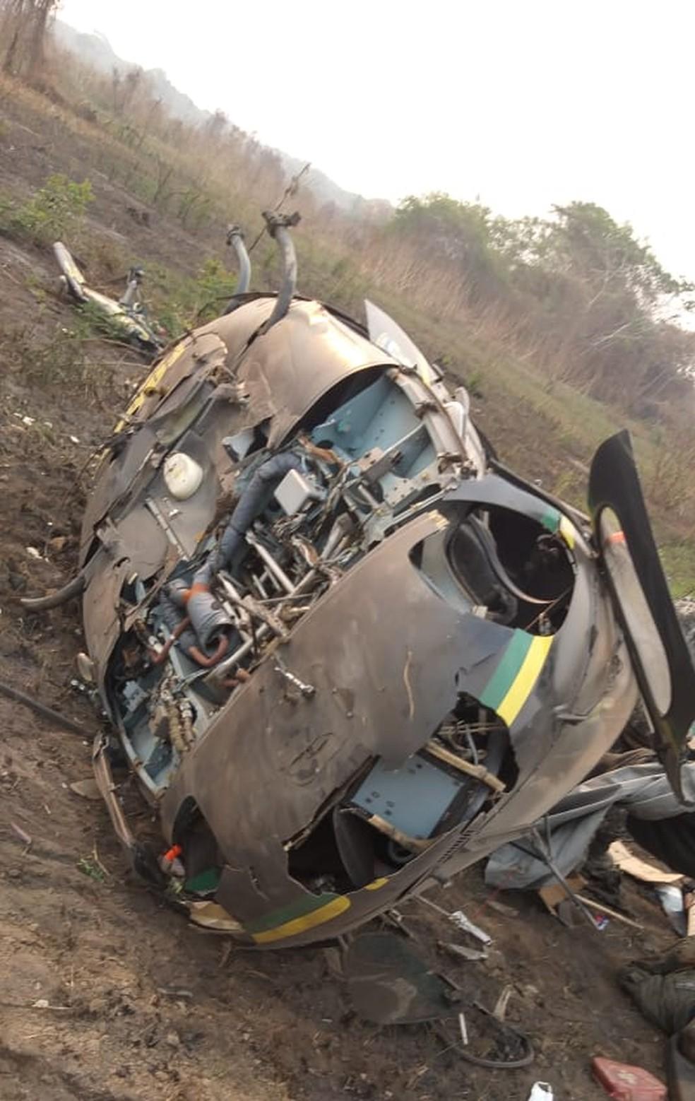 Helicóptero da Força Nacional estava há duas semanas em Pantanal de MT — Foto: Divulgação