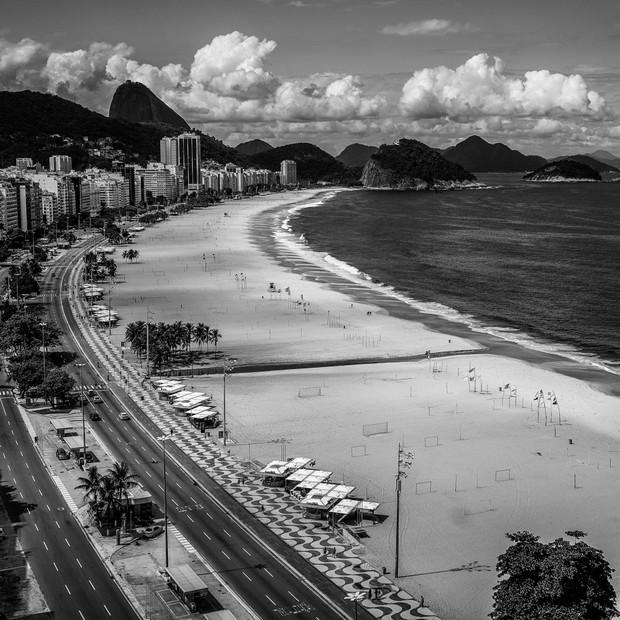 Praia vazia durante quarentena no Rio de Janeiro (Foto: Reprodução)