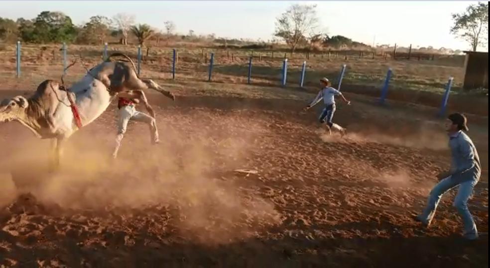 Wanderson foi atingido por coice ao cair de boi (Foto: Reprodução)