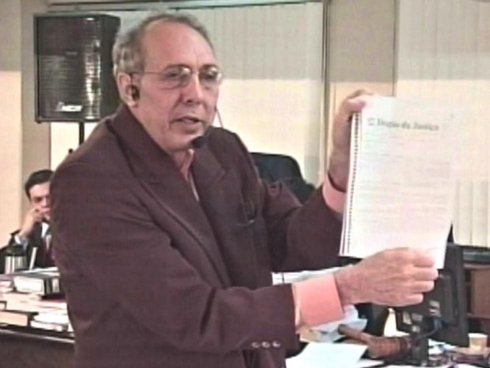 Hildebrando Pascoal durante julgamento em 2009, em Rio Branco — Foto: Reprodução/Rede Amazônica Acre