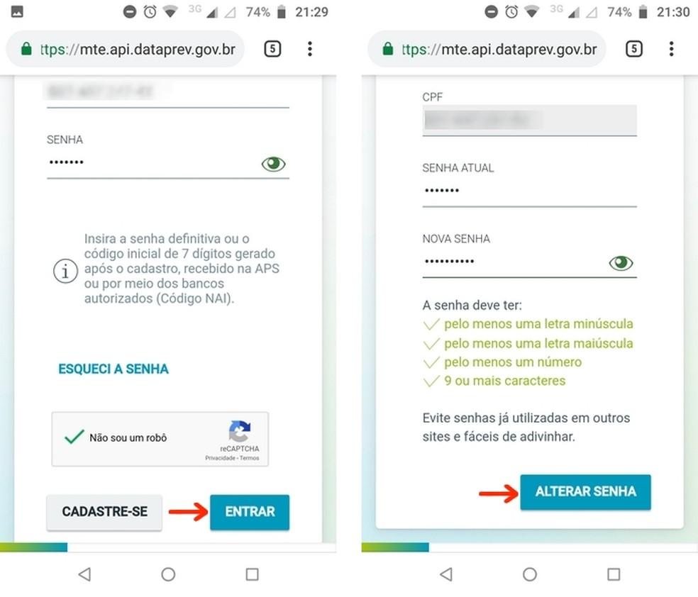 Alteração de senha temporária do Cidadão.br para login no SINE Fácil  — Foto: Reprodução/Raquel Freire