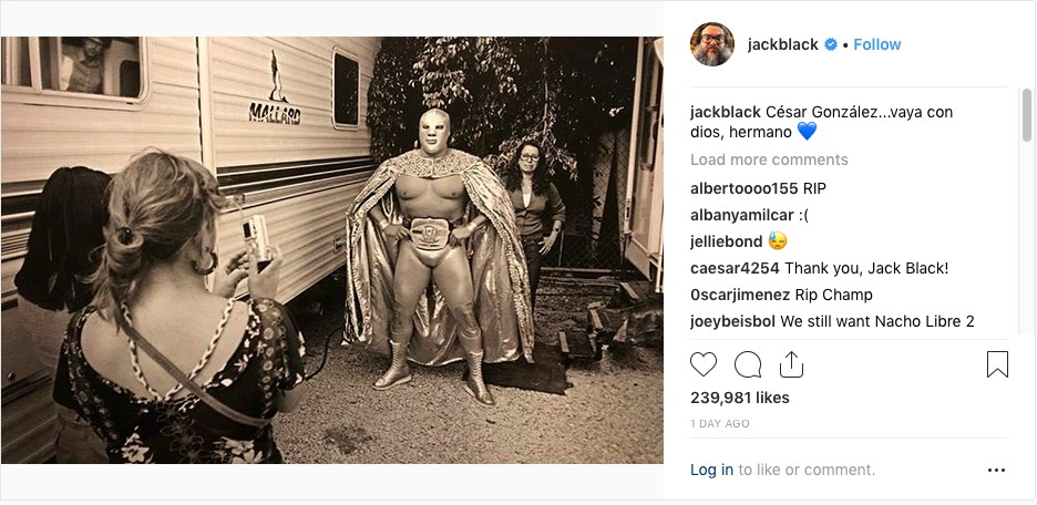O post do ator Jack Black lamentando a morte do astro de luta livre mexicano Cesar Gonzalez Barron (Foto: Instagram)