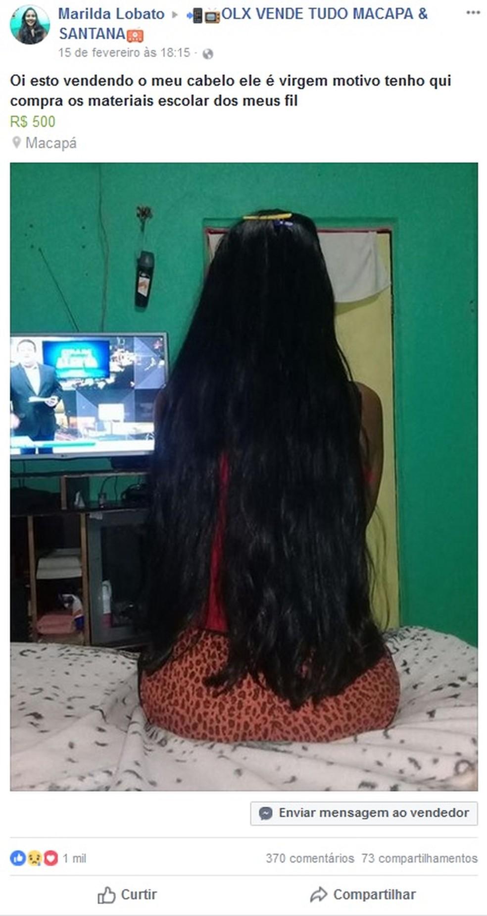Postagem oferta três palmos de cabelo no valor de R$ 500 (Foto: Facebook/Reprodução)