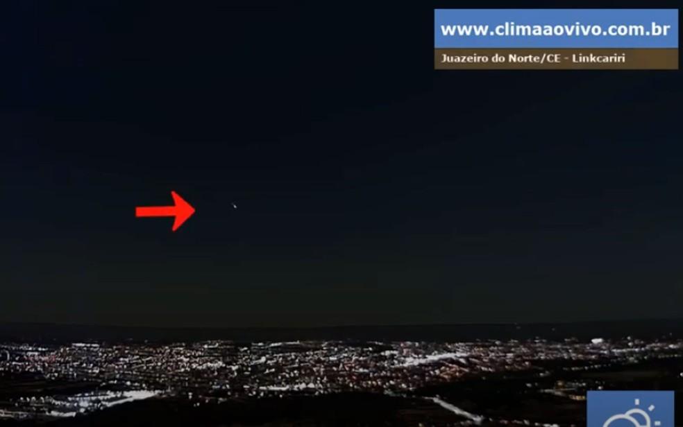 Meteoro também pode ser visto no Ceará — Foto: Reprodução/Youtube/climaaovivo.com.br/Bramon