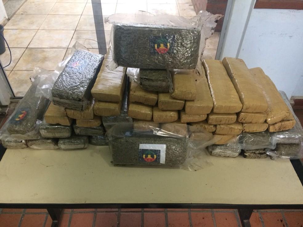 Entorpecentes eram transportados em uma mala (Foto: Polícia Militar/Divulgação)