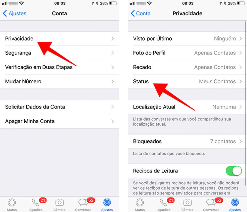 Ajuste a privacidade da ferramenta de Status (Foto: Reprodução/Paulo Alves)