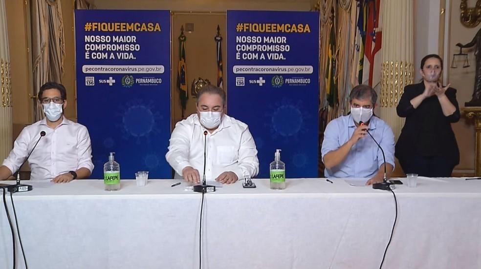 Secretários detalharam plano de retomada gradual de atividades econômicas  — Foto: Reprodução/Governo de Pernambuco