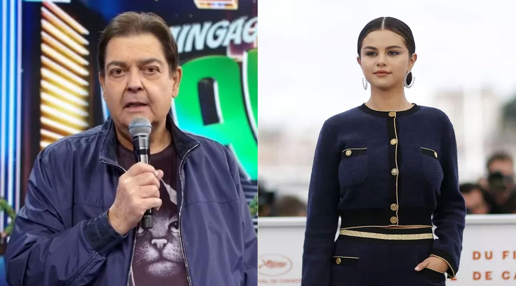 TV Globo brinca nas redes sociais com meme sobre namoro fictício de Selena Gomez e Faustão em anúncio de saída do apresentador