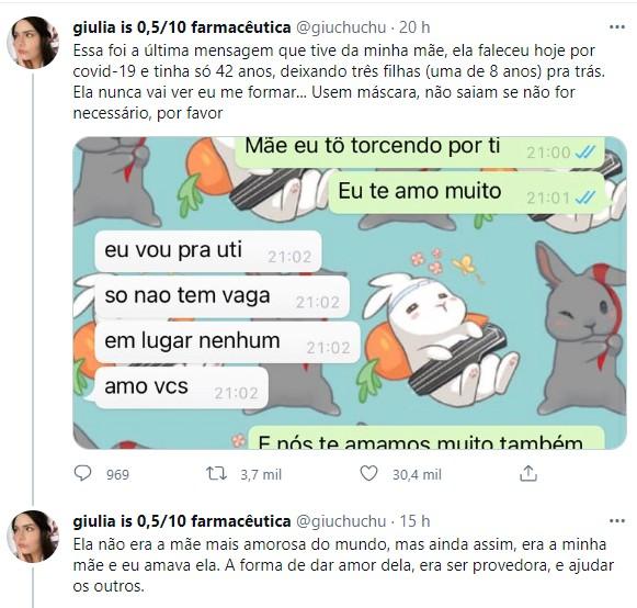Jovem compartilha últimas mensagens trocadas com sua mãe, morta por Covid-19 aos 42 anos (Foto: Reprodução/Twitter)