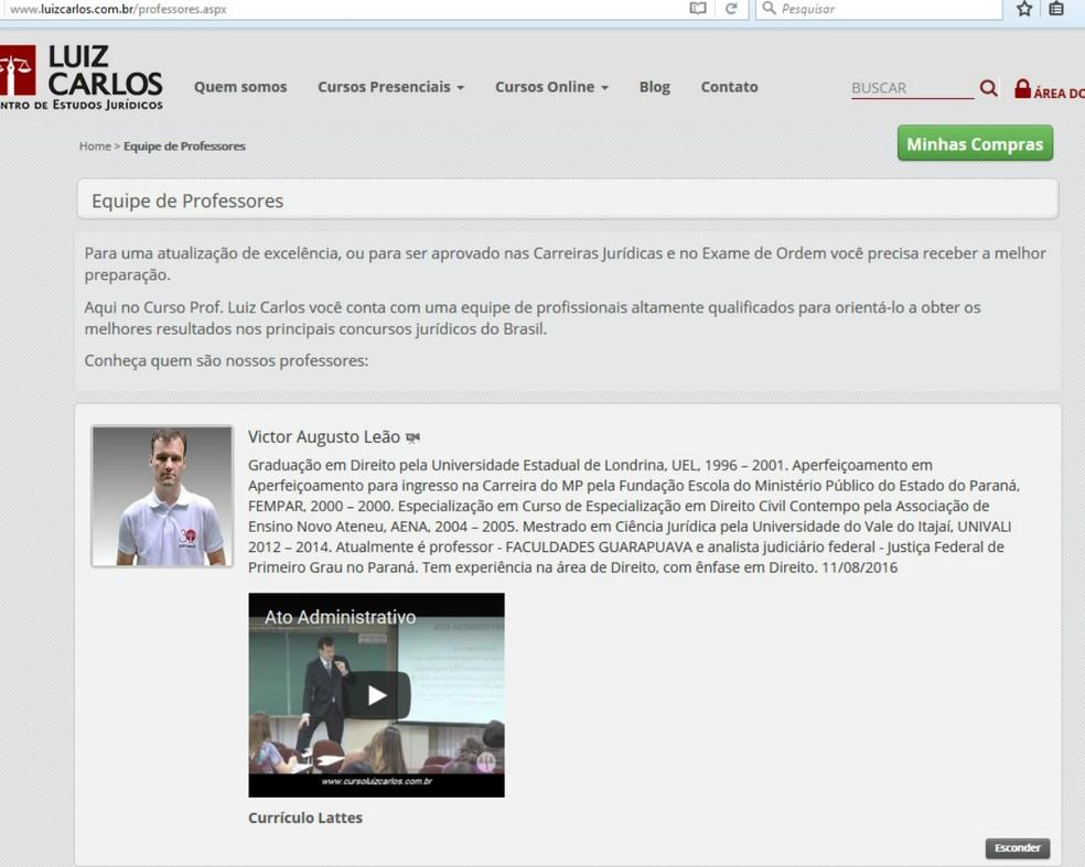 Perfil do professor Victor Augusto Leão publicado no site do Curso Luiz Carlos (Foto: Reprodução/Curso Luiz Carlos )