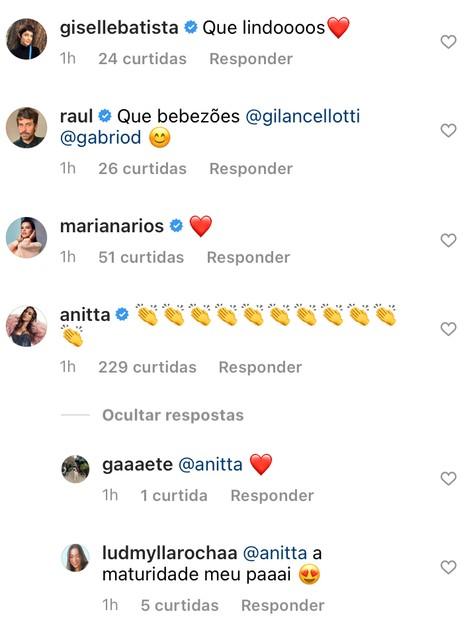 Anitta comenta postagem de Giovanna Lancellotti (Foto: Reprodução)