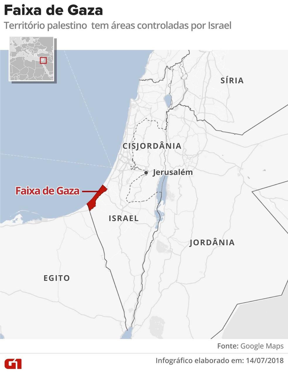 Mapa mostra região da Faixa de Gaza (Foto: Alexandre Mauro/ Arte G1)