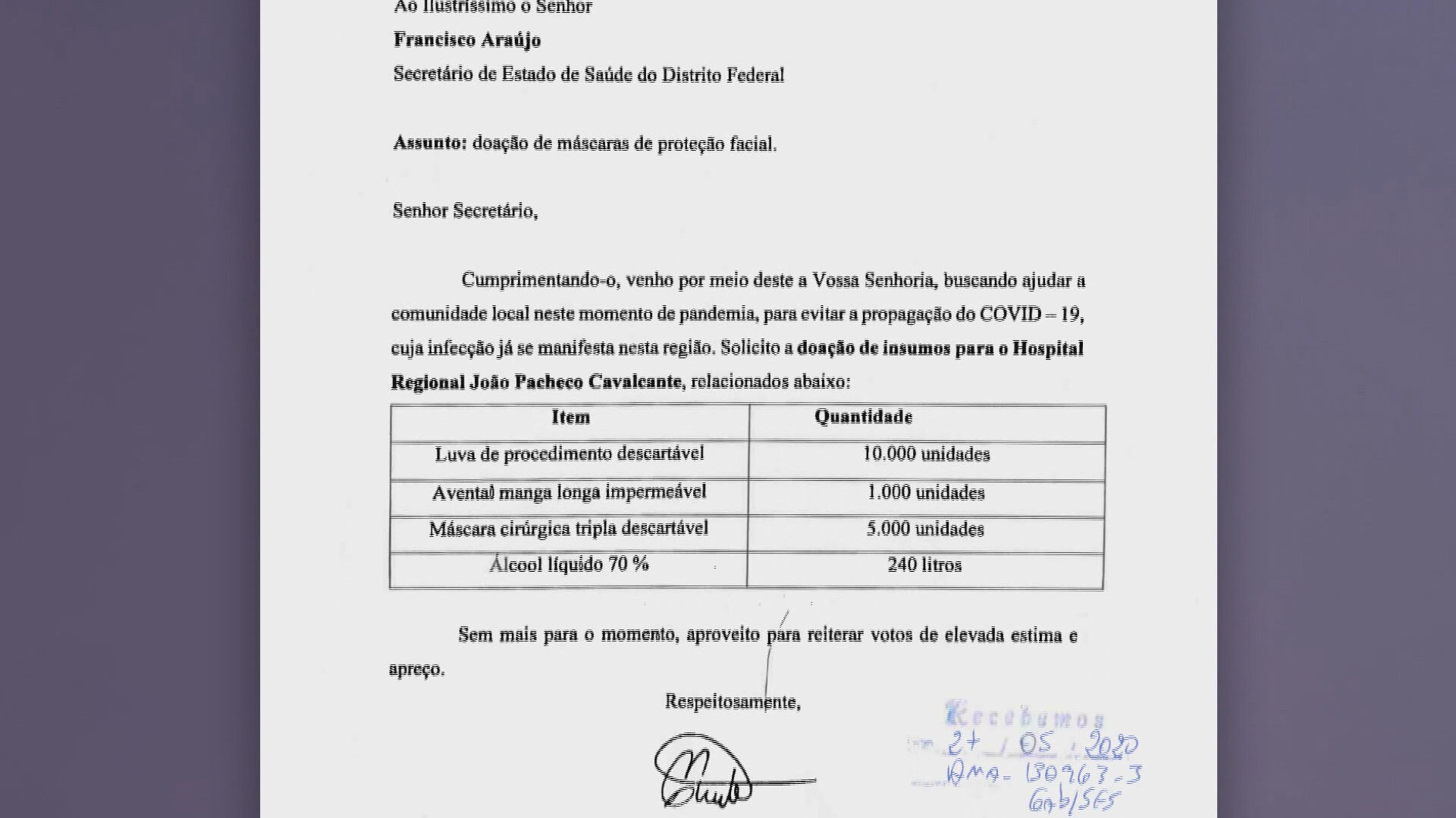 Secretaria de Saúde do DF autoriza doação de 22,5 mil EPIs para município no Piauí