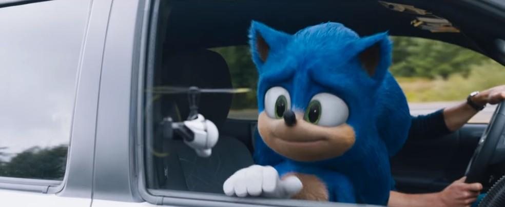 Novo visual de 'Sonic' foi divulgado nesta terça (12) — Foto: Reprodução/Youtube/Paramount