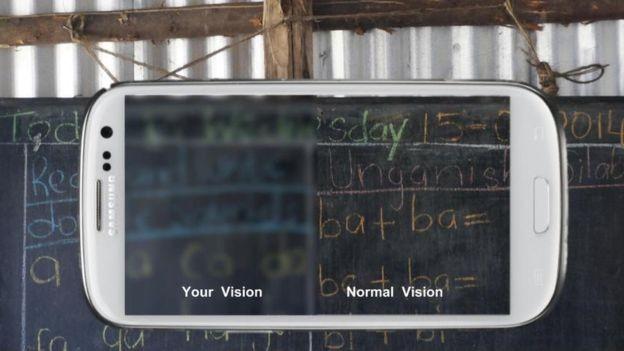 O aplicativo pode simular como o mundo se parece para alguém com a visão ruim  (Foto: Peek Vision/via BBC News Brasil)