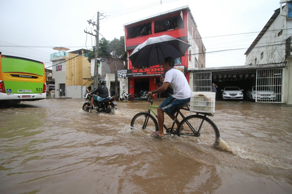 Em Afogados,  ciclista passa por alagamento nesta quarta (11) (Foto: Marlon Costa/Pernambuco Press)