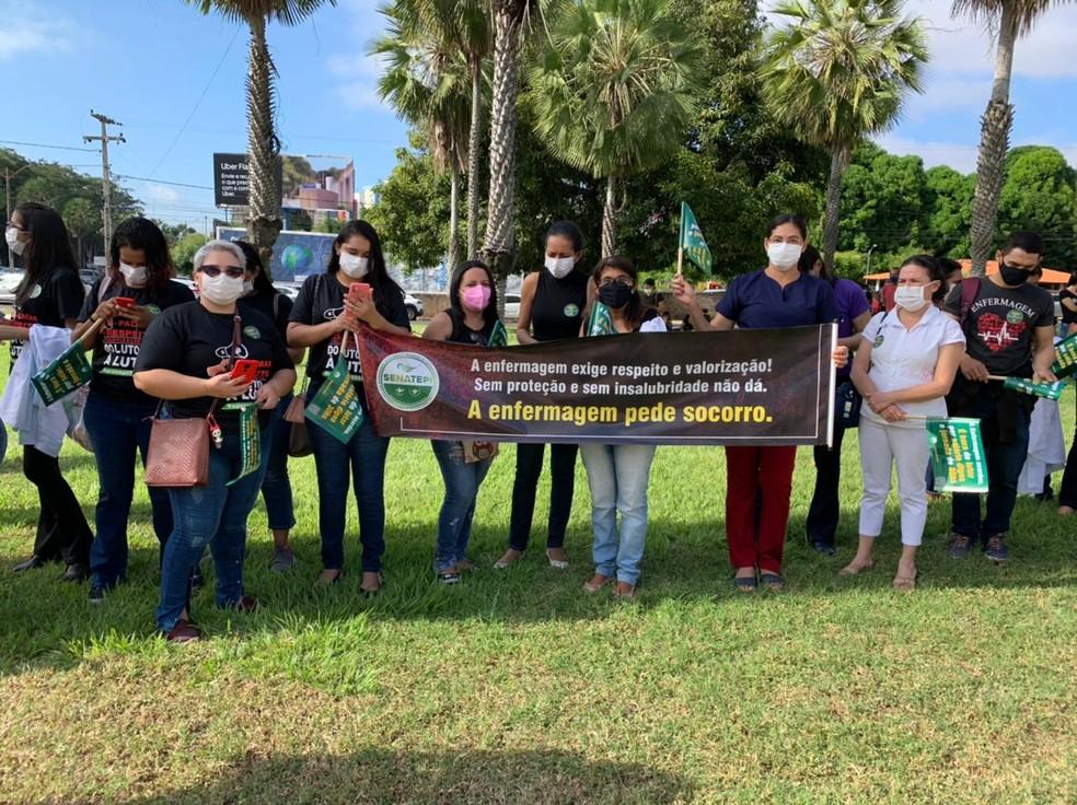Profissionais da Enfermagem participam de mobilização nacional em favor de PL no Piauí — Foto: G1 Piauí