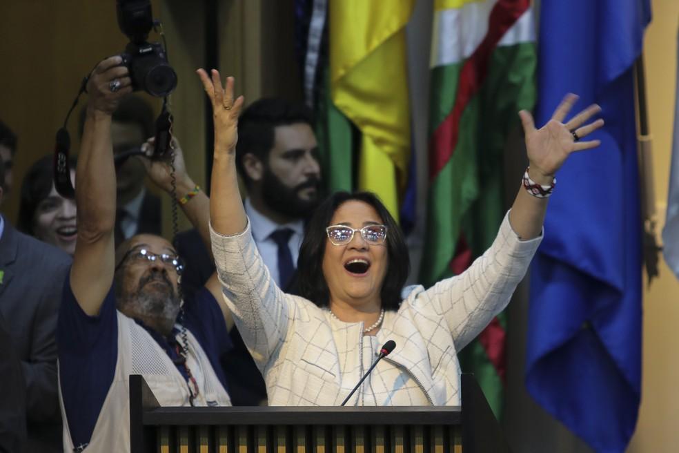 A ministra da Mulher, Família e Direitos Humanos, Damares Alves, durante cerimônia de apresentação da nova pasta — Foto: Wilson Dias / Agência Brasil