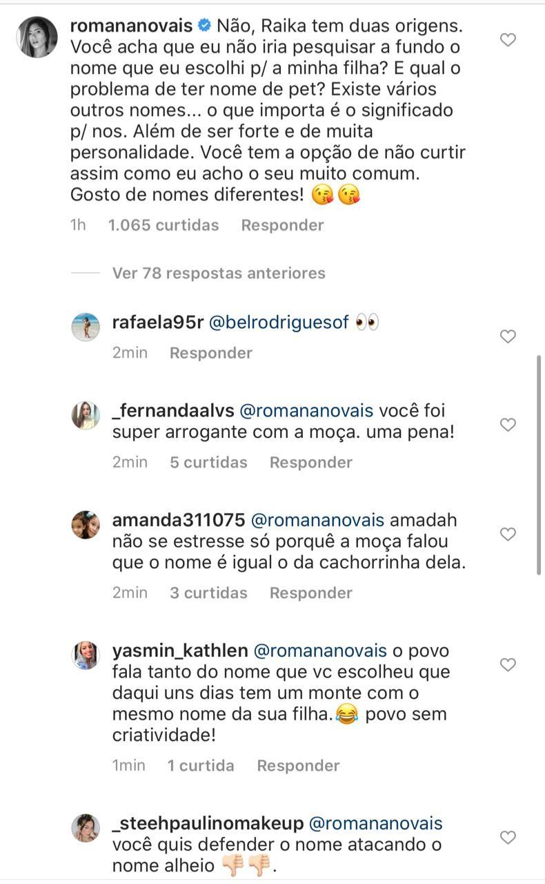 Romana Novais comenta escolha do nome da filha, Raika (Foto: Reprodução/Instagram)