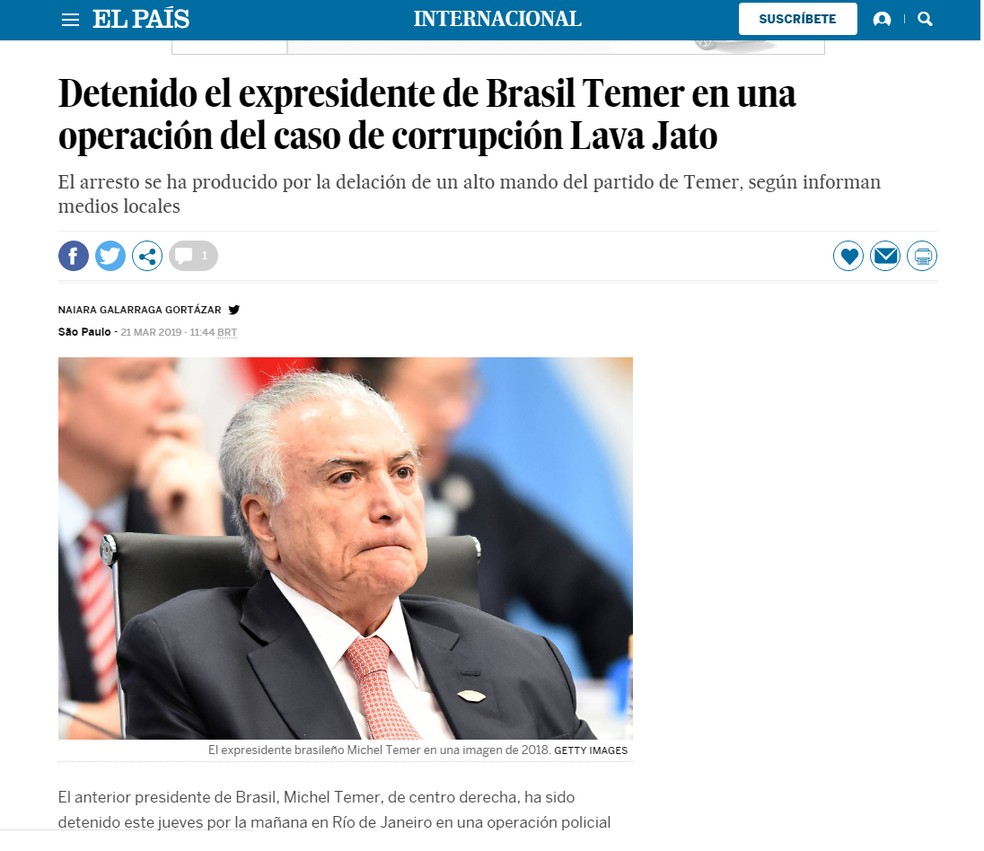 Jornal 'El País' noticia prisão de ex-presidente Michel Temer — Foto: Reprodução/El País