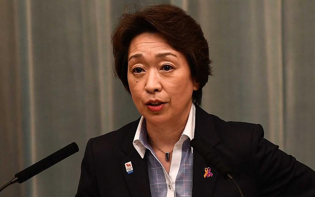 Ministra japonês dos Jogos Olímpicos e Paraolímpicos de Tóquio, Seiko Hashimoto, foi nomeada presidente do Comitê Organizador de Tóquio 2020 — Foto: Charly Triballeau / AFP Photo