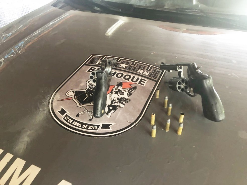 Dois revólveres e munições foram apreendidas  (Foto: PM/Divulgação)