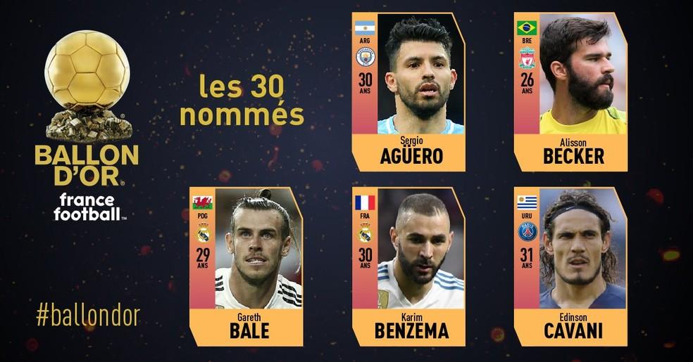 Primeiros cinco dos 30 indicados indicados à Bola de Ouro de 2018 da revista France Football — Foto: Reprodução