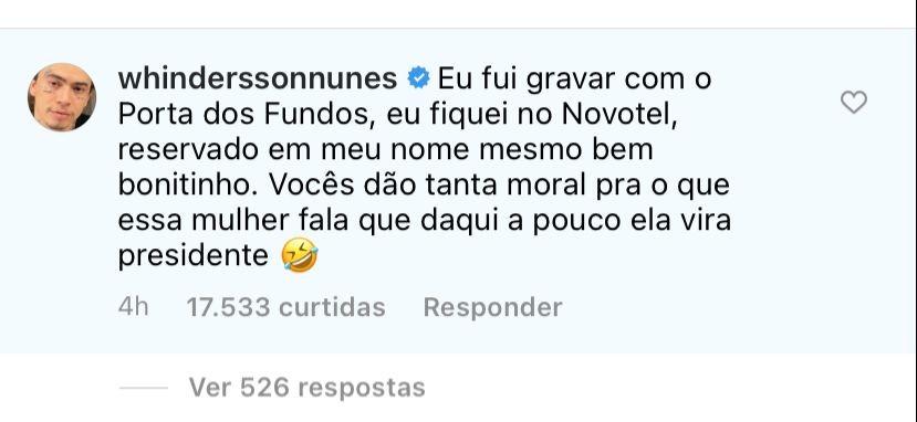 Whindersson Nunes nega que tenha encontrado Luísa Sonza no Rio (Foto: Reprodução/Instagram)