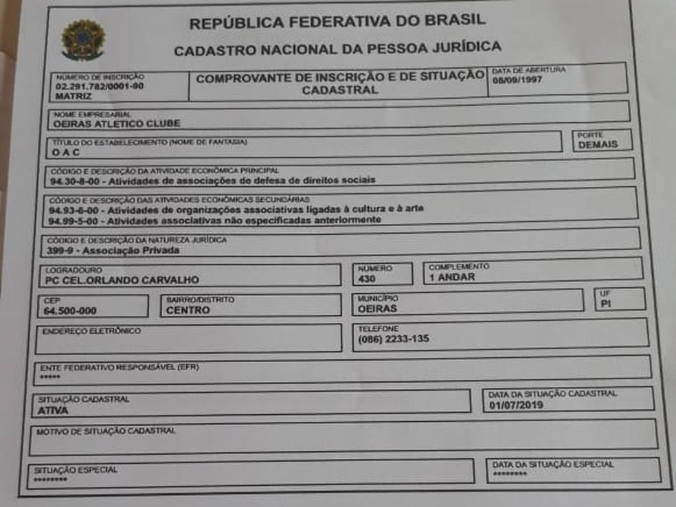 Clube mostra documento que aponta CNPJ ativo do clube — Foto: GloboEsporte.com
