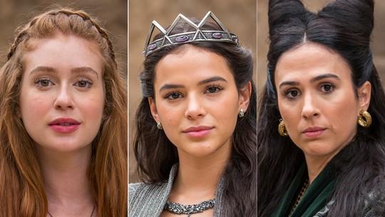 Marina Ruy Barbosa, Bruna Marquezine e Tatá Werneck respondem a perguntas de fãs sobre 'Deus Salve o Rei'