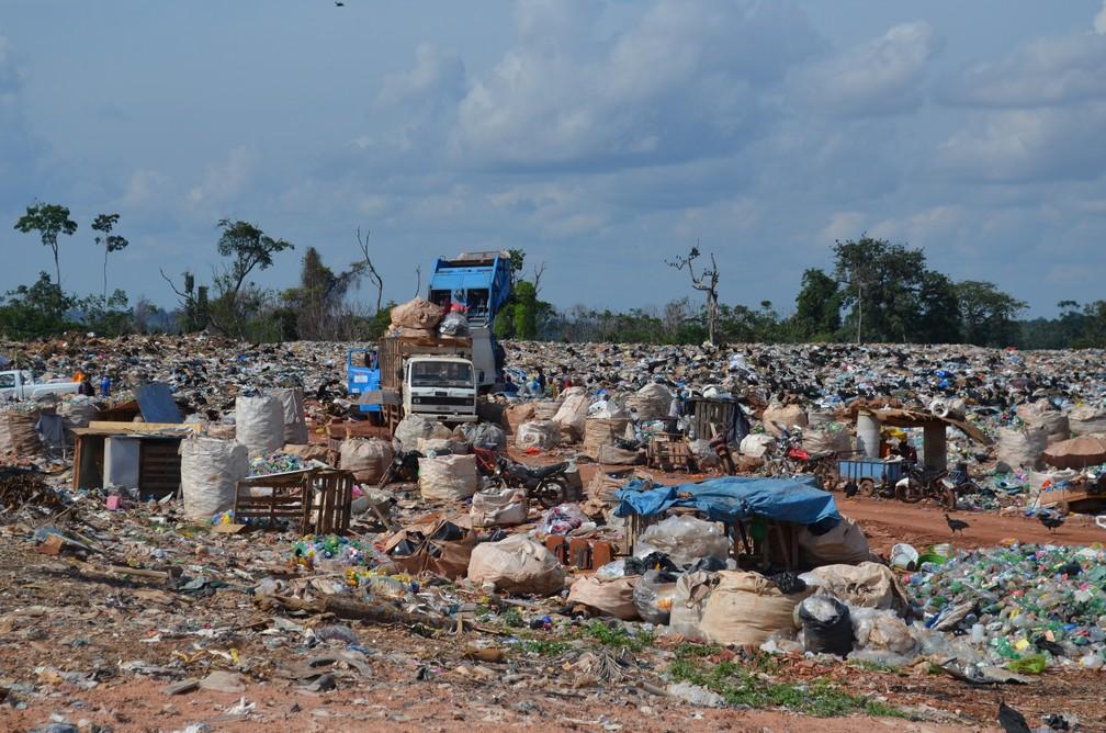 Diarimanete são descatados 450 tonela de resíduos doméstico em lixão (Foto: Jheniffer Núbia / G1)