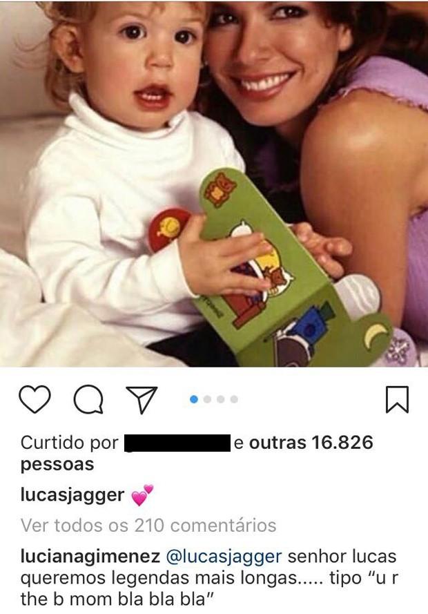 Comentário de Luciana Gimenez (Foto: Reprodução/Instagram)