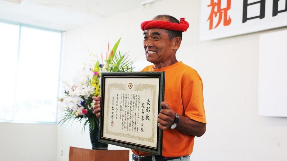 -  Conhecido como   39;supervoluntário  39;, Haruo Obata foi homenageado pela cidade natal  Foto: PREFEITURA DE HIJI