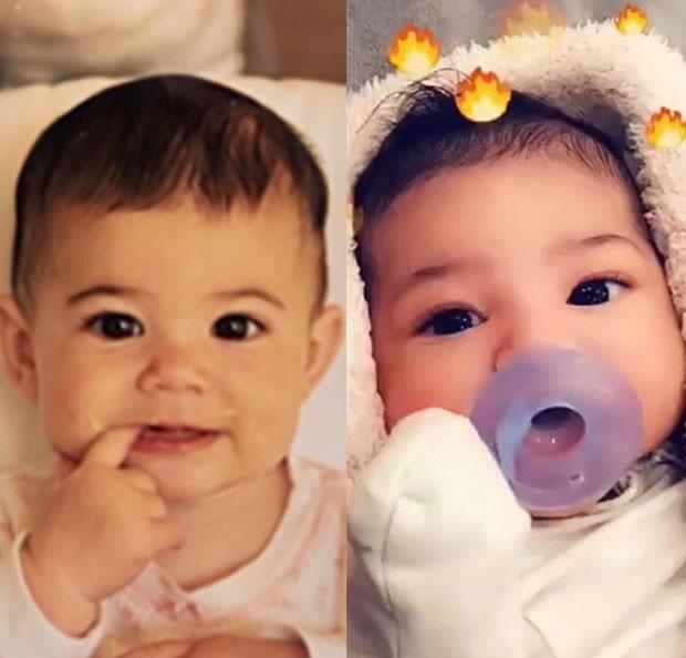 Kylie Jenner quando era bebê (à esquerda) e Stormi (à direita) (Foto: Reprodução Instagram)
