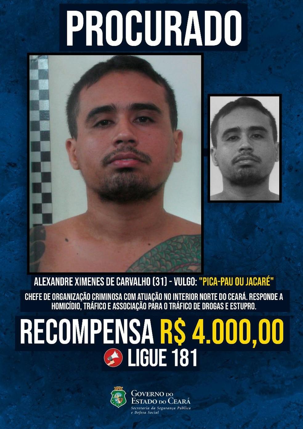 Governo do Ceará oferece recompensa por informações que levem à prisão de foragidos. — Foto: Divulgação/ SSPDS