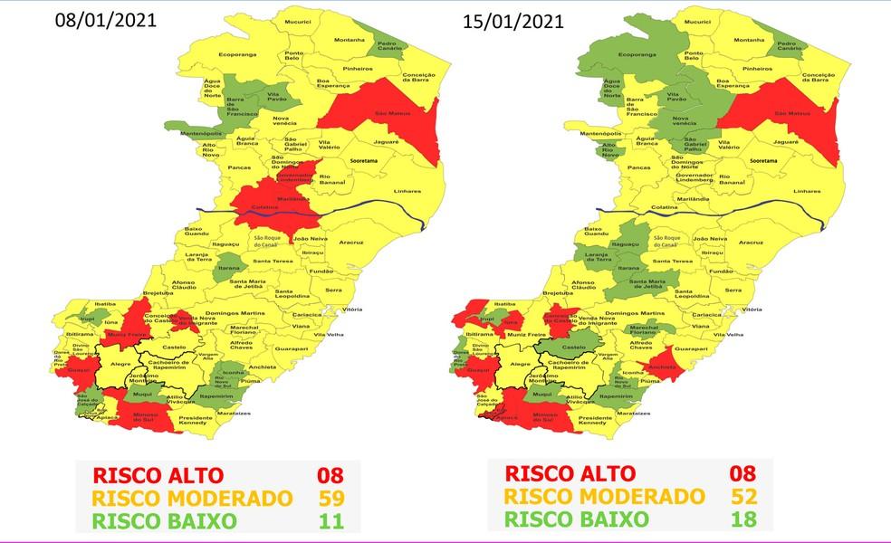Comparativo semanal do mapa de risco do ES — Foto: Divulgação/ Governo do ES