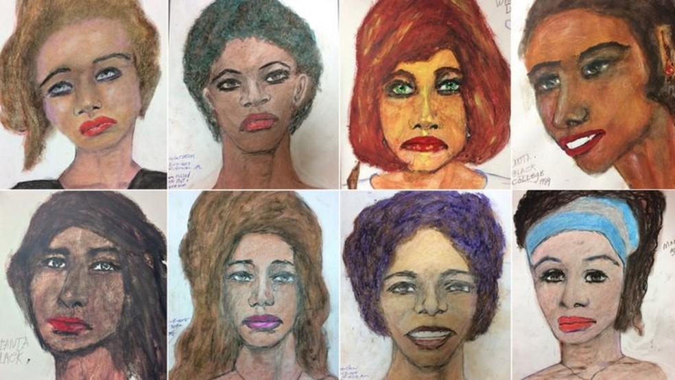 O FBI divulgou os desenhos de Samuel Little na esperança de que as vítimas pudessem ser identificadas — Foto: FBI via BBC