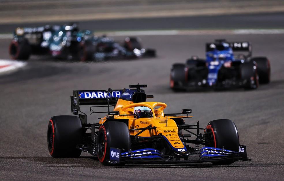 Daniel Ricciardo, da McLaren, no GP do Bahrein da F1 2021 — Foto: Lars Baron/Getty Images