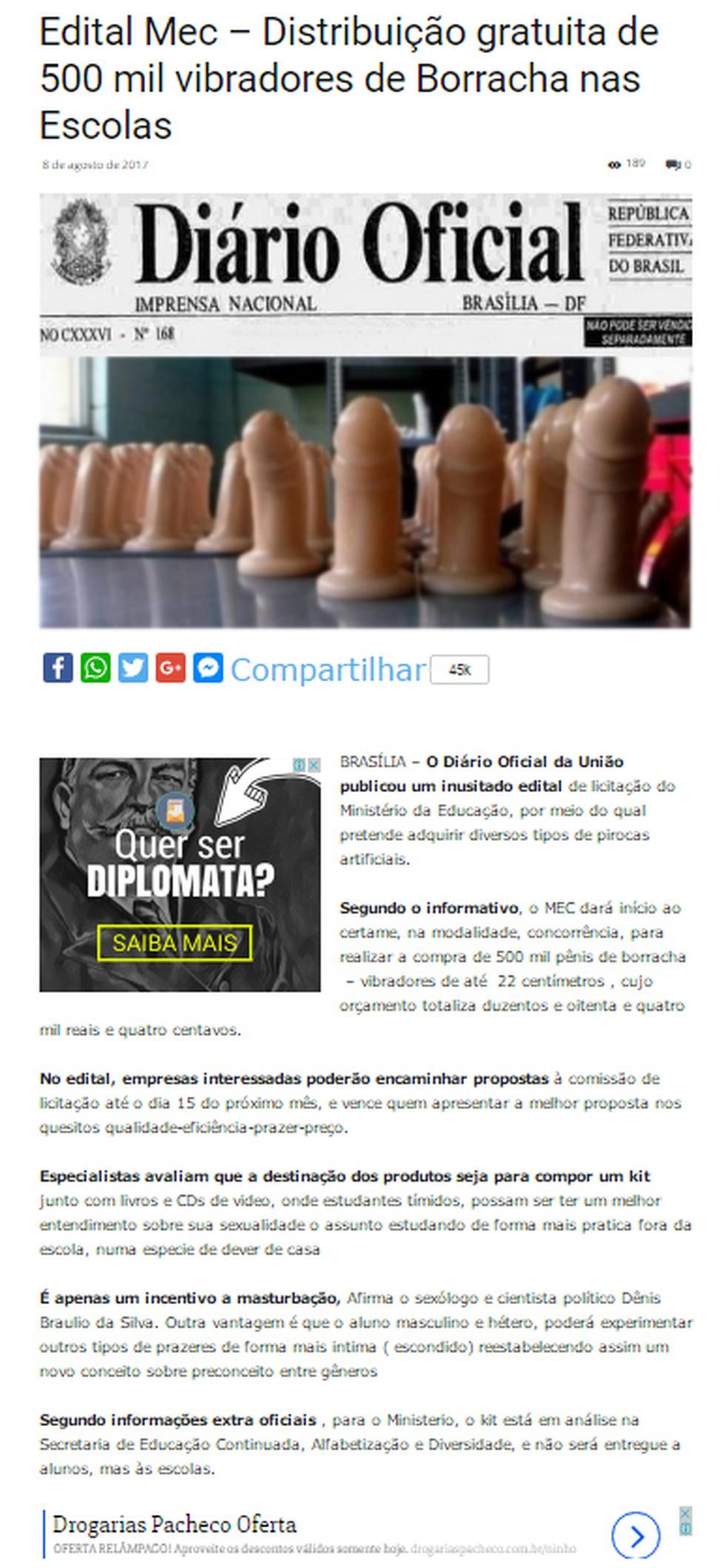 MEC desmentiu notícia falsa sobre compra de vibradores (Foto: Reprodução/ Facebook)